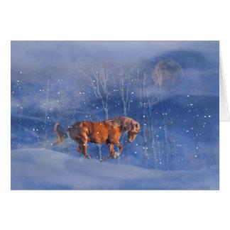 Cartão da mágica do feriado do cavalo e da neve