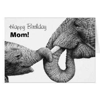 Cartão da mamã do feliz aniversario de elefantes