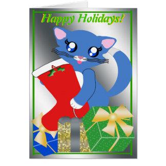 Cartão da meia do feriado do gatinho de Skye Toon