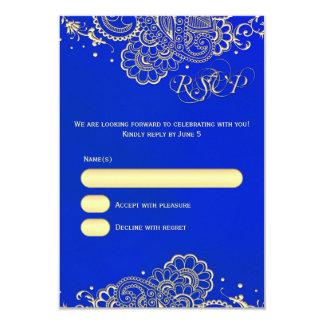 Cartão da meia-noite do laço RSVP do Henna do ouro