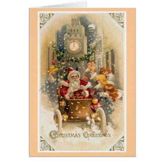 Cartão Cartão da meia-noite do natal vintage da