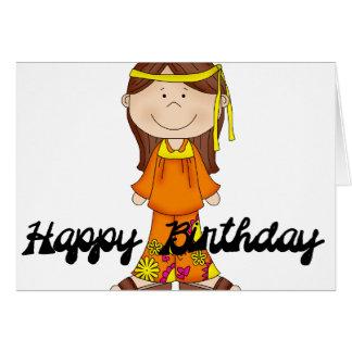 Cartão da menina 1 do Hippie do feliz aniversario