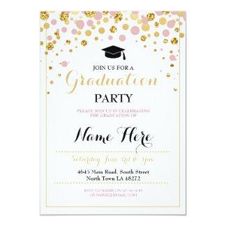 Cartão Da menina cor-de-rosa do ouro da graduação o