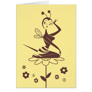 Cartão da menina da abelha pela senhorita Fluff