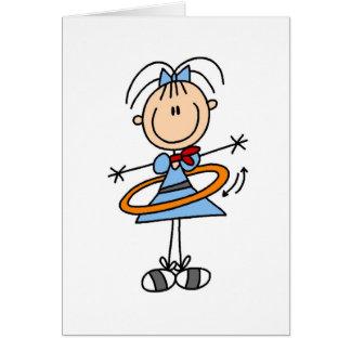 Cartão da menina da aro de Hula