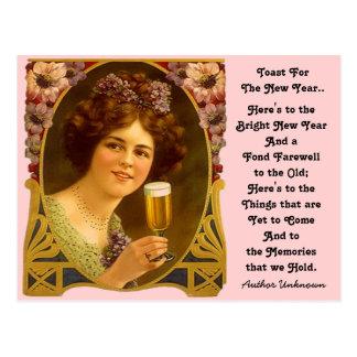 Cartão da menina de Champagne do brinde de ano