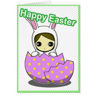 Cartão da menina de coelhinho da Páscoa