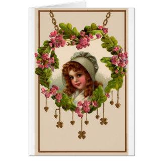 Cartão da menina de dia do St. Patricks