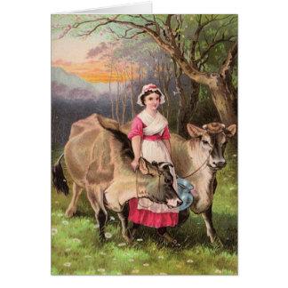 Cartão da menina de fazenda da leiteria do país do