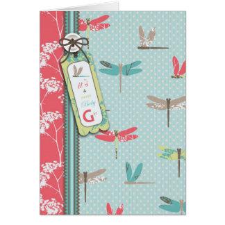 Cartão da menina de sonhos da libélula