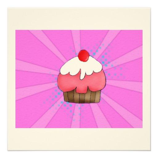 Cartão da menina do cupcake convite personalizado