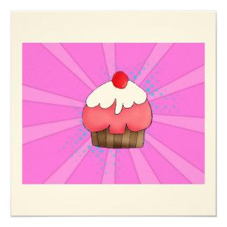 Cartão da menina do cupcake convite quadrado 13.35 x 13.35cm