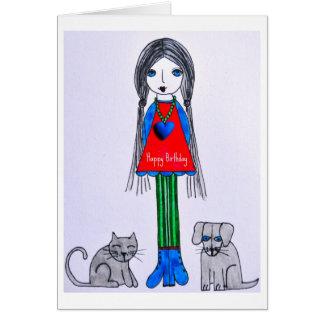 Cartão da menina do feliz aniversario