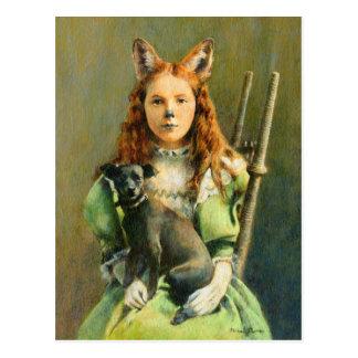 Cartão da menina do Fox do Victorian