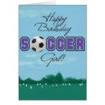 Cartão da menina do futebol