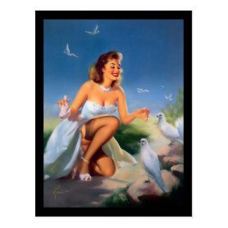 cartão da menina do Pin-acima dos anos 50