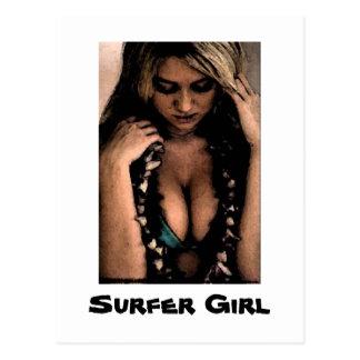 Cartão da menina do surfista