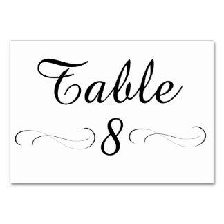 Cartão da mesa da mesa 8