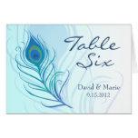 Cartão da mesa da pena do pavão da cerceta