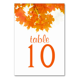 Cartão da mesa das folhas de bordo do outono