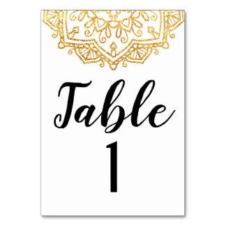 Cartão da mesa de comensal do casamento da mandala