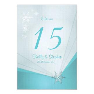 Cartão da mesa do casamento do floco de neve e da