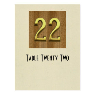 Cartão da mesa do número 22 da foto