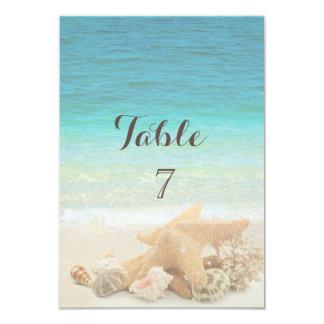 Cartão da mesa dos Seashells do casamento de praia