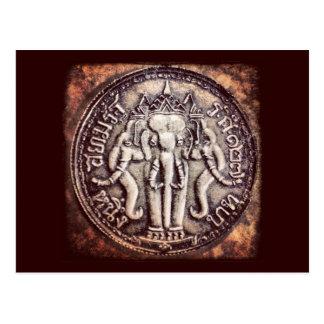 Cartão da moeda do elefante do baht de Tailândia