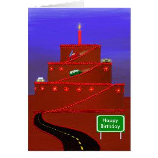 Cartão da montanha do bolo de aniversário