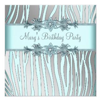 Cartão Da mulher azul da zebra da cerceta de prata a
