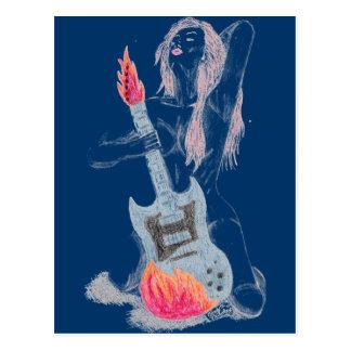 Cartão da mulher da guitarra