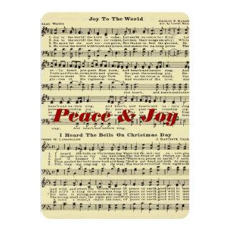 Cartão da música do Natal da paz & da alegria Convite 12.7 X 17.78cm