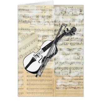 Cartão da música do violino do vintage