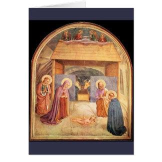Cartão da natividade do Fra Angelico, texto Latin