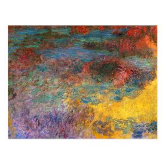 Cartão da noite da lagoa do lírio de água de Monet Cartão Postal