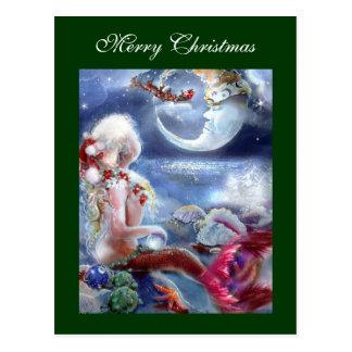 Cartão da Noite de Natal da sereia