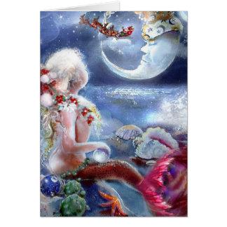 Cartão da Noite de Natal de uma sereia
