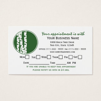 Cartão da nomeação da árvore de vidoeiro