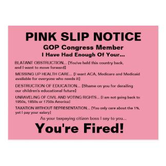 Cartão da observação do deslizamento cor-de-rosa
