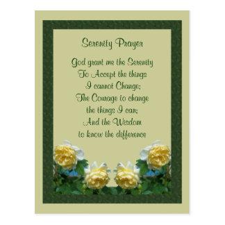 Cartão da oração da serenidade dos rosas amarelos