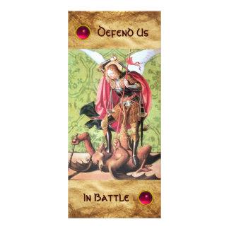 Cartão da oração de ST MICHAEL, de DRAGÃO E de 10.16 X 22.86cm Panfleto