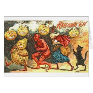 Cartão da parada do Dia das Bruxas do diabo e da