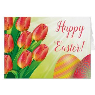 Cartão da páscoa das tulipas