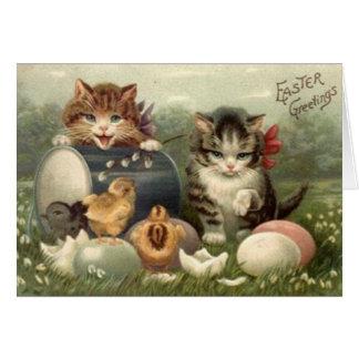 Cartão da páscoa dos gatinhos do Victorian