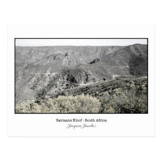 Cartão da passagem de montanha no Kloof de