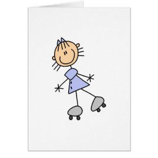 Cartão da patinagem de rolo da menina