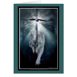 Cartão da PAZ do lobo & do amante dos animais de