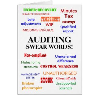 Cartão da piada das palavras do auditor -