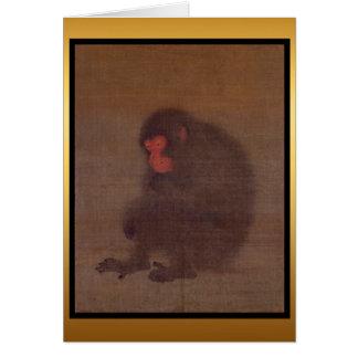 Cartão da pintura chinesa do ano do macaco
